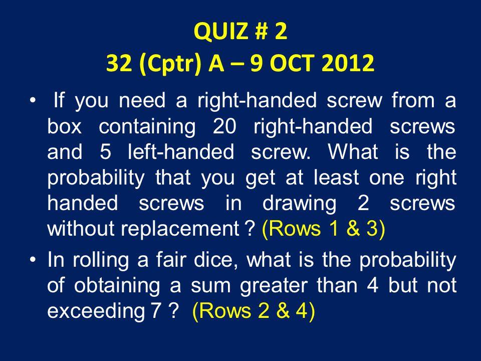 QUIZ # 2 32 (Cptr) A – 9 OCT 2012