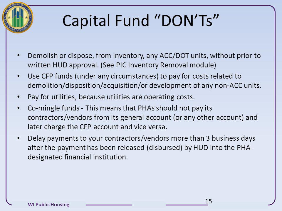Capital Fund DON'Ts