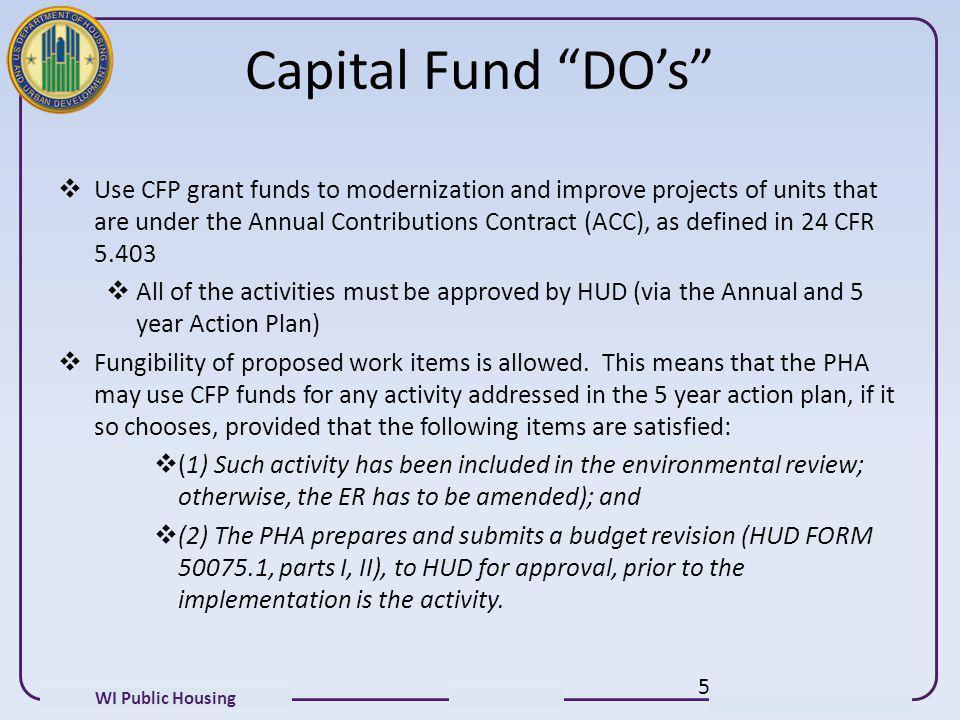 Capital Fund DO's