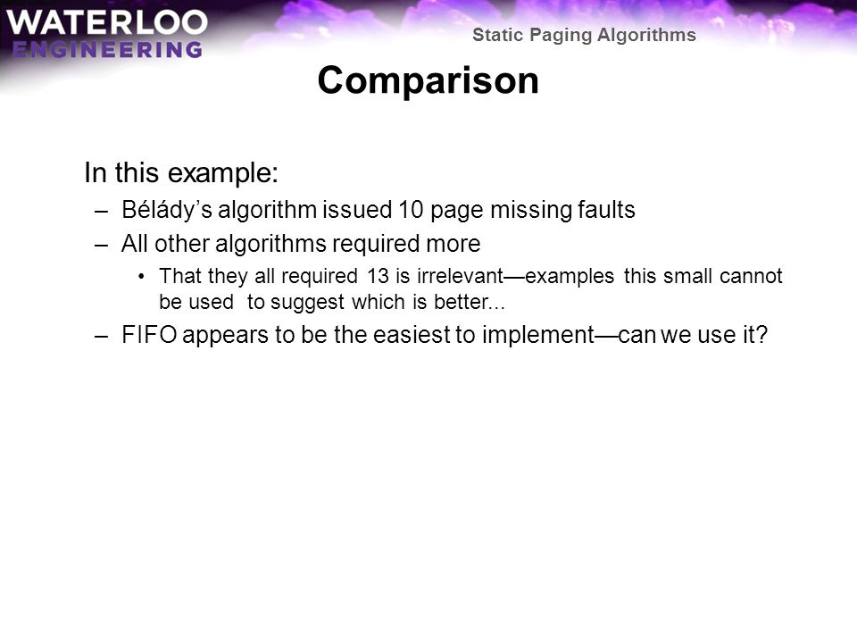 Comparison In this example: