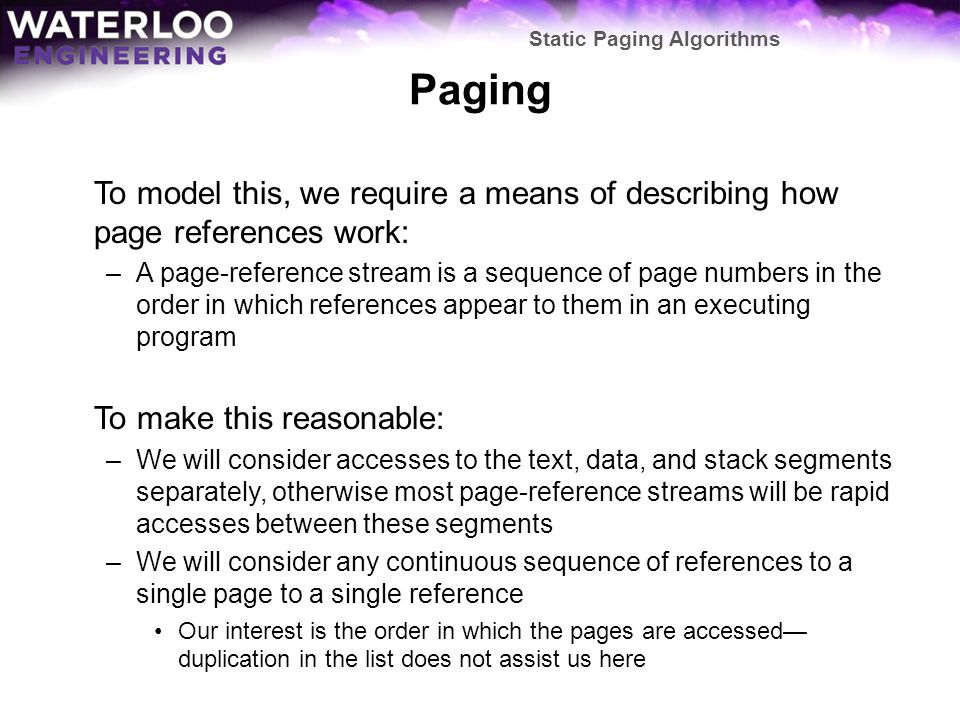 Static Paging Algorithms