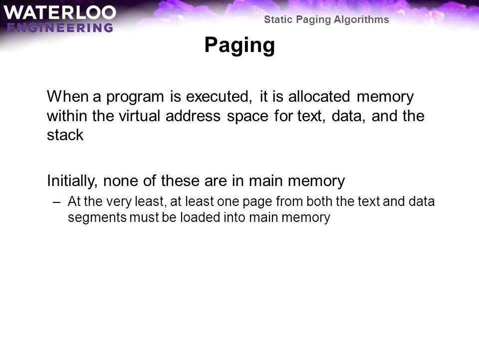 Static Paging Algorithms