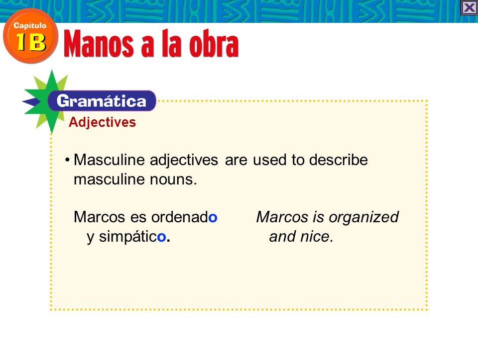 AdjectivesMasculine adjectives are used to describe masculine nouns.