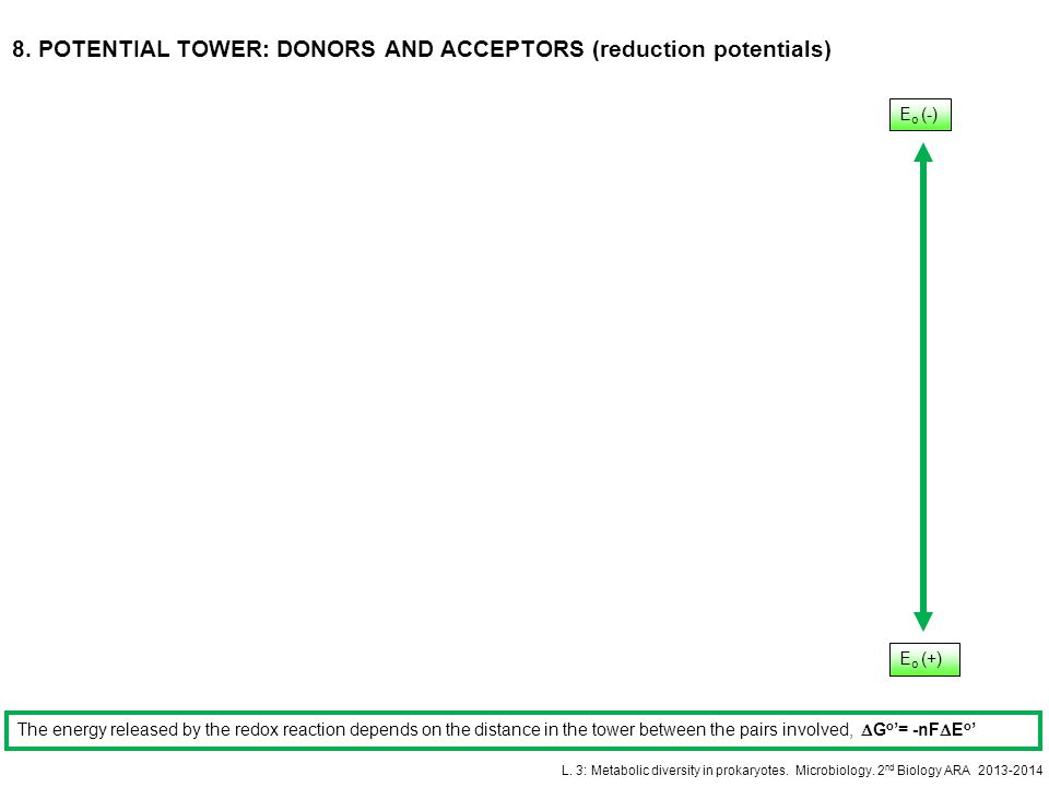 8. POTENTIAL TOWER: DONORS AND ACCEPTORS (reduction potentials)