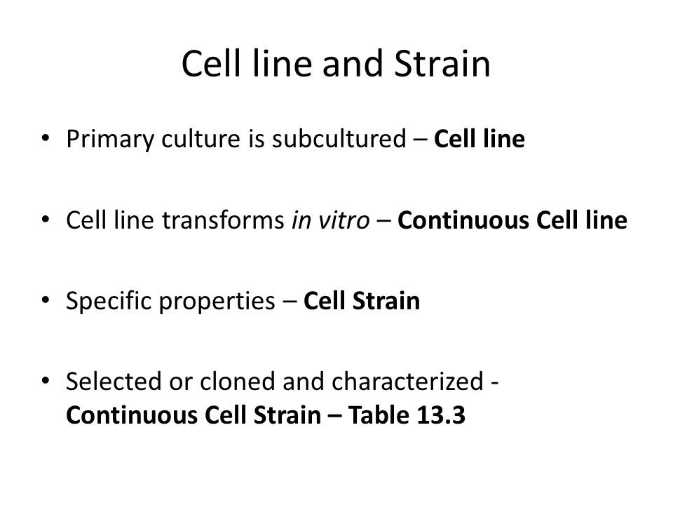 Cell line and Strain Primary culture is subcultured – Cell line