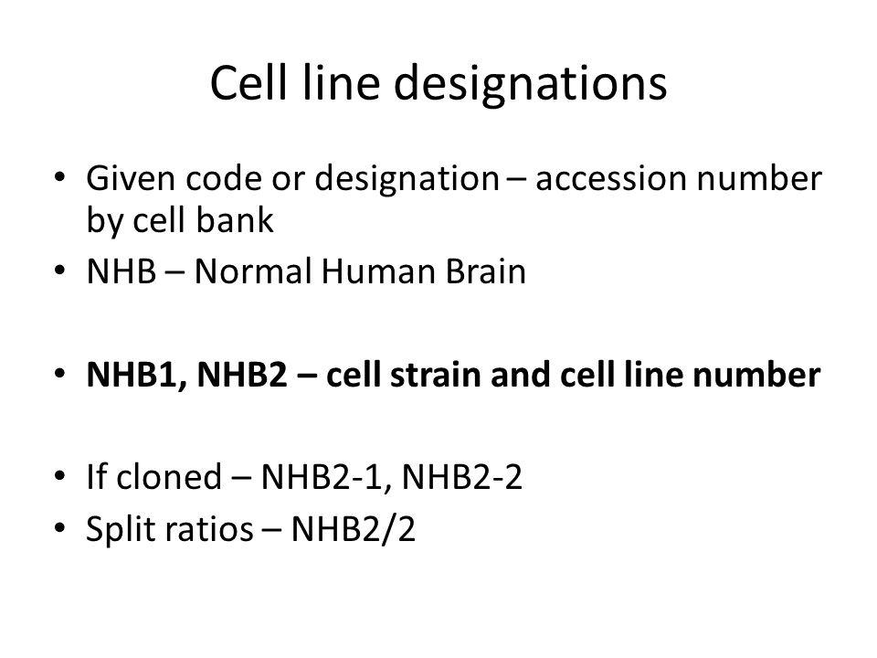 Cell line designations