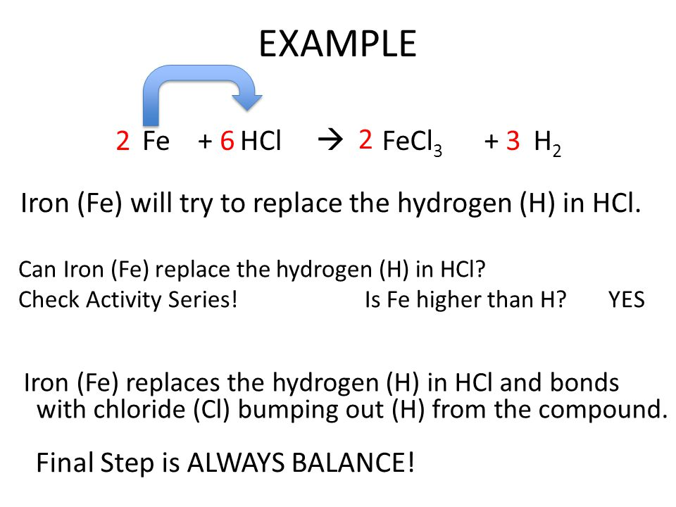 EXAMPLE Fe + HCl  2 6 2 FeCl3 + H2 3