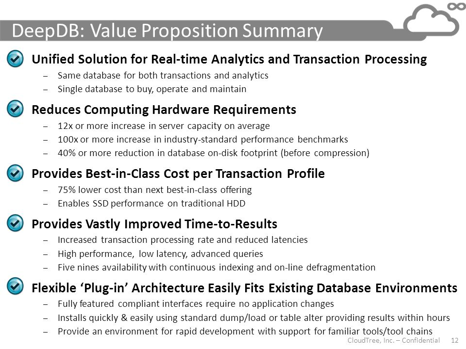 DeepDB: Value Proposition Summary