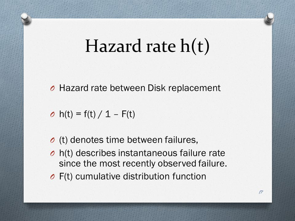 Hazard rate h(t) Hazard rate between Disk replacement