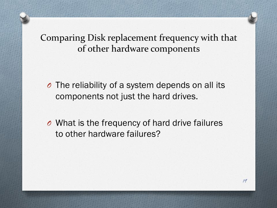 Comparing Disk replacement frequency with that of other hardware components