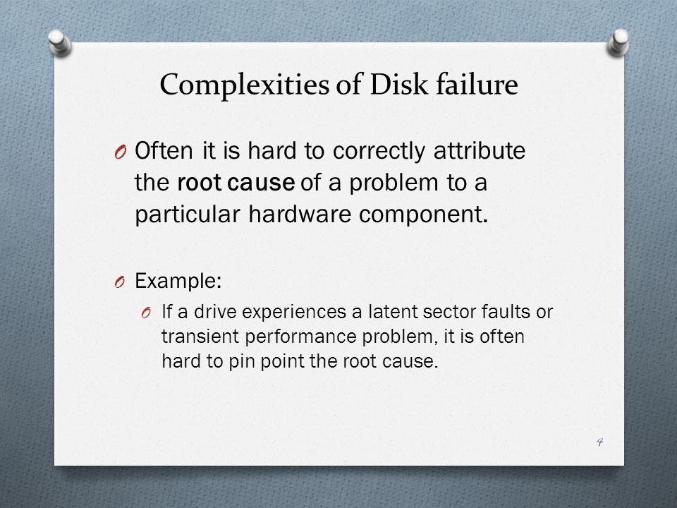 Complexities of Disk failure