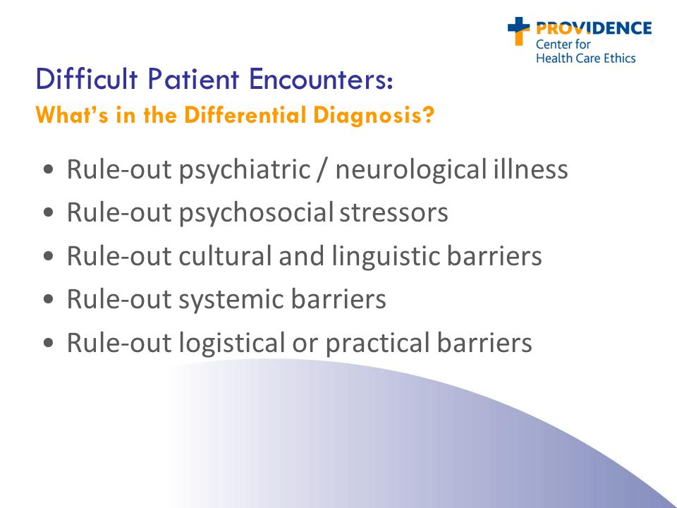 Difficult Patient Encounters: What's in the Differential Diagnosis