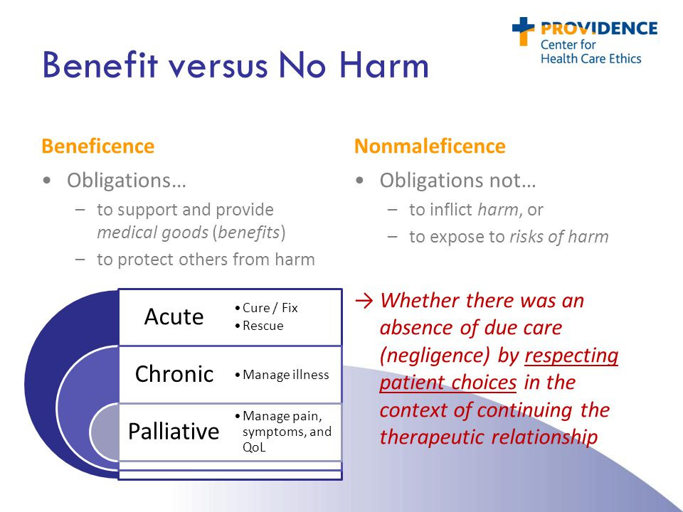 Benefit versus No Harm Beneficence Nonmaleficence Obligations…