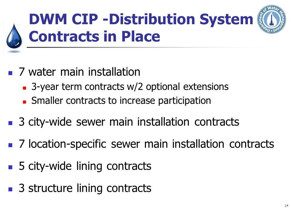 DWM CIP -Distribution System Contracts in Place