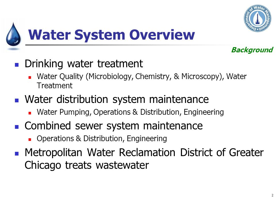 Water System Overview Drinking water treatment