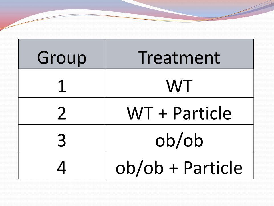 Group Treatment 1 WT 2 WT + Particle 3 ob/ob 4 ob/ob + Particle