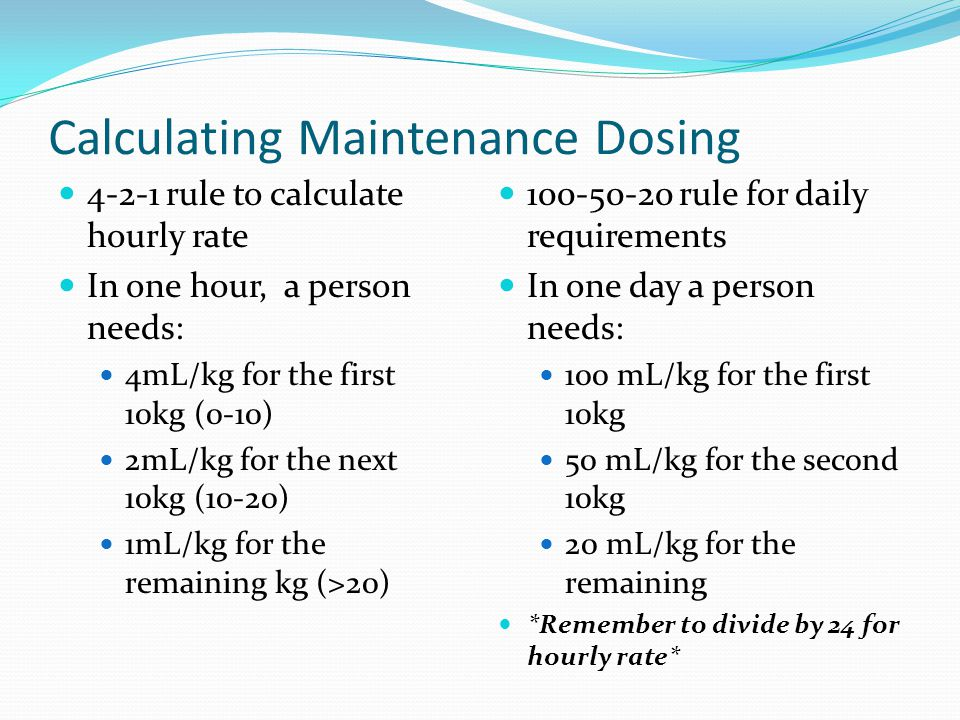 Calculating Maintenance Dosing
