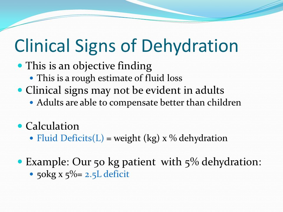 Clinical Signs of Dehydration