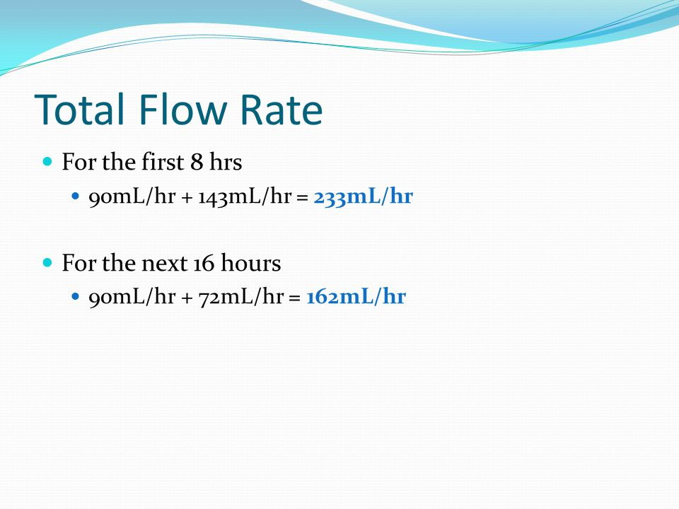 Total Flow Rate For the first 8 hrs For the next 16 hours