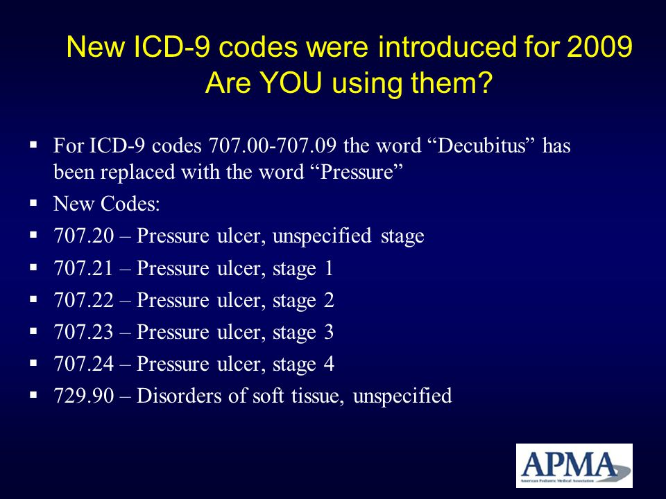 New ICD-9 codes were introduced for 2009 Are YOU using them