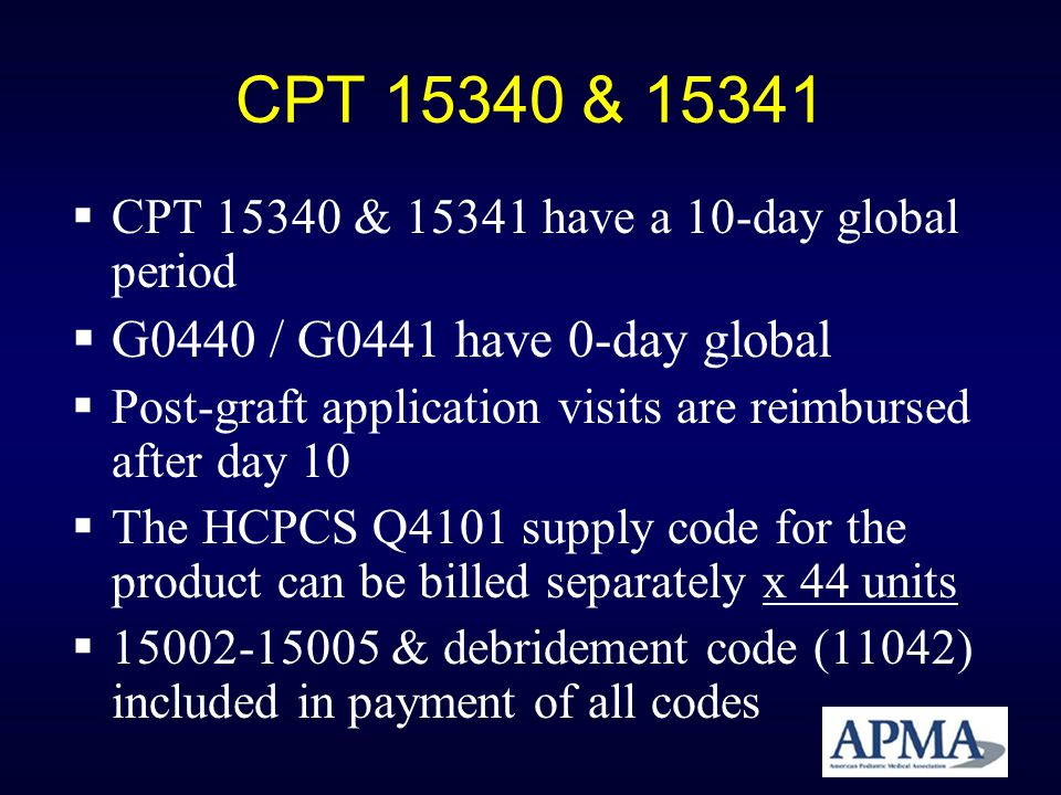 CPT 15340 & 15341 G0440 / G0441 have 0-day global