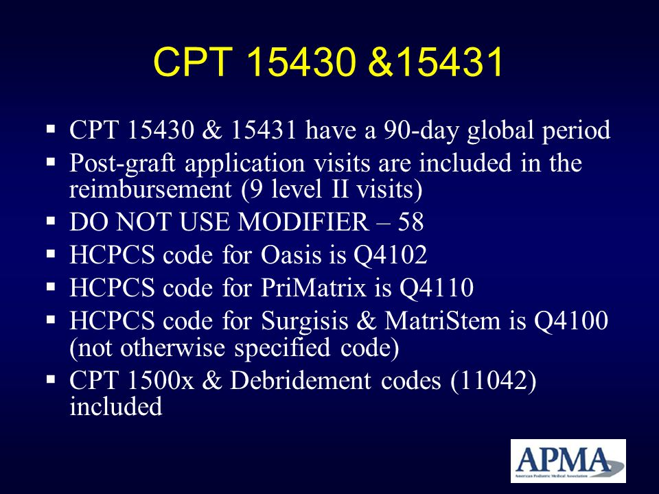 CPT 15430 &15431 CPT 15430 & 15431 have a 90-day global period