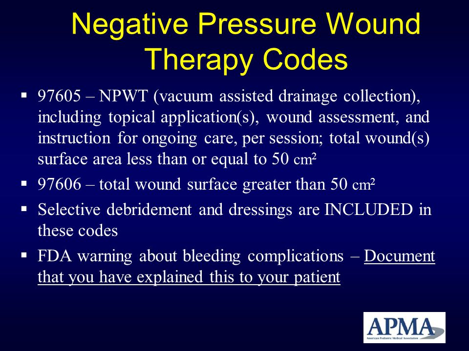 Negative Pressure Wound Therapy Codes