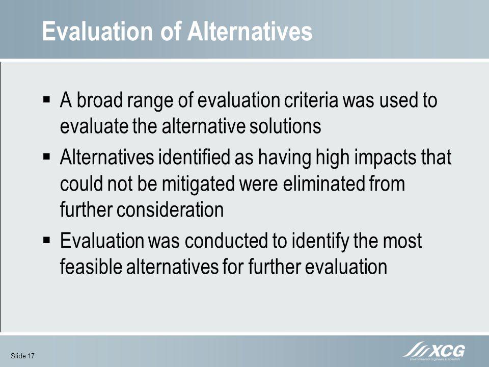 Evaluation of Alternatives