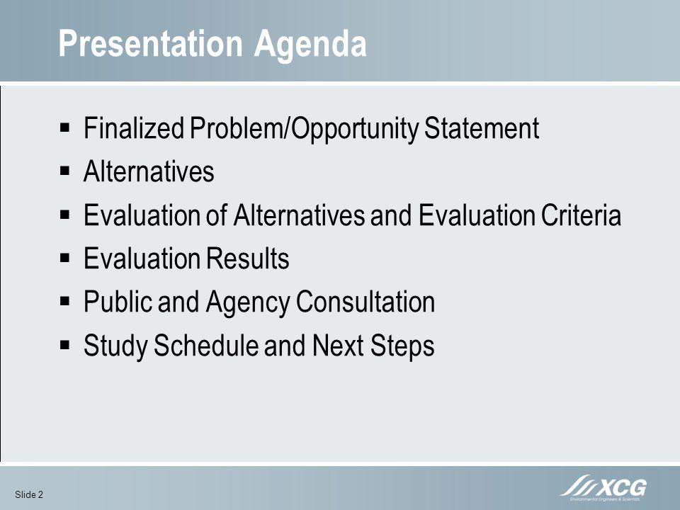 Presentation Agenda Finalized Problem/Opportunity Statement