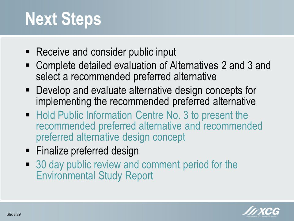 Next Steps Receive and consider public input