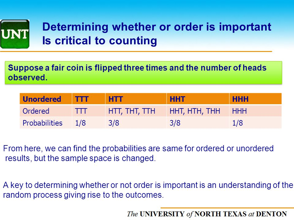 Determining whether or order is important Is critical to counting
