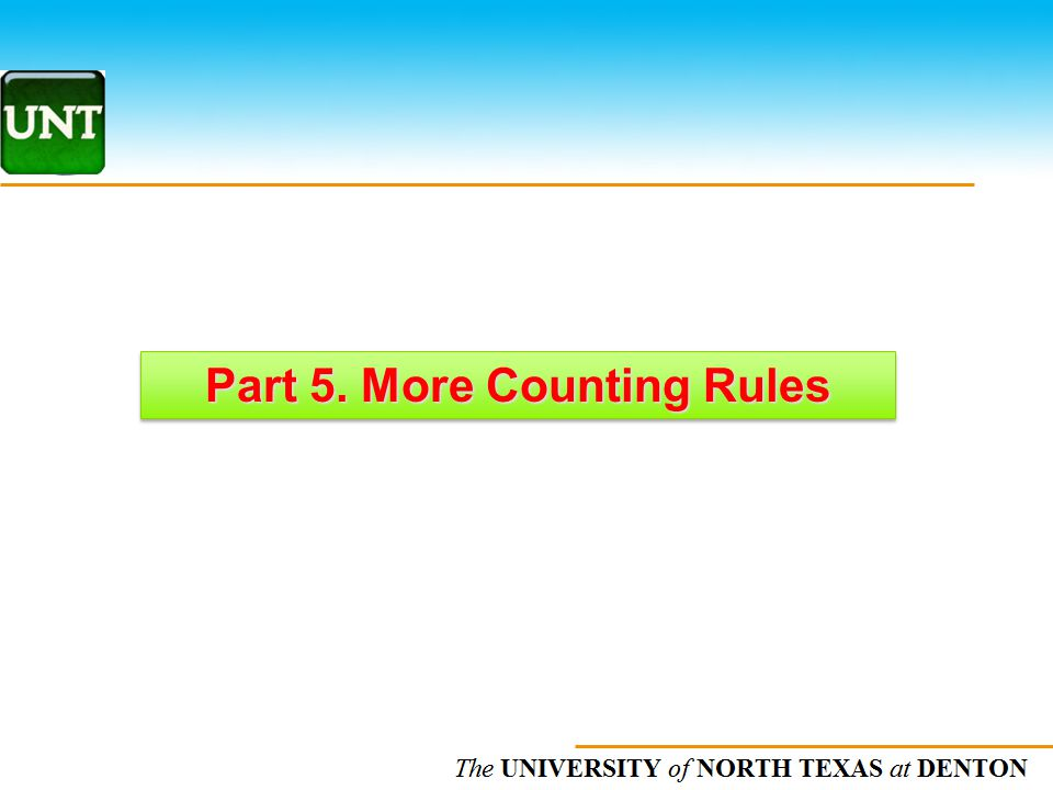 Part 5. More Counting Rules