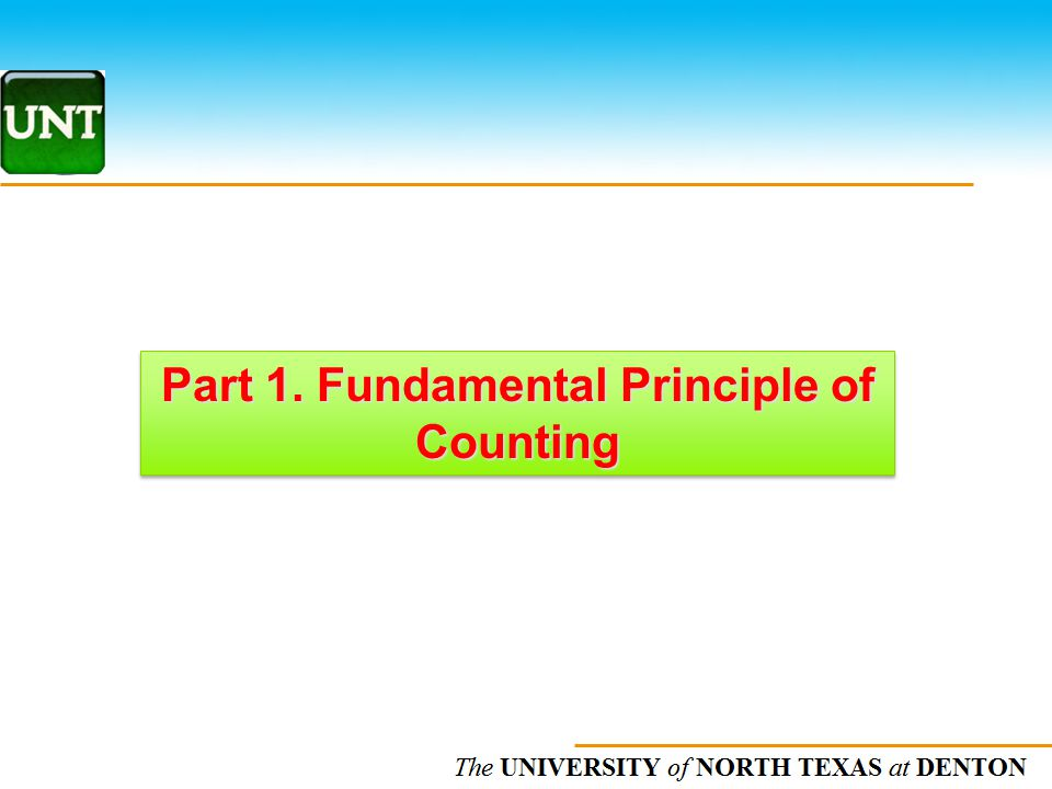 Part 1. Fundamental Principle of Counting
