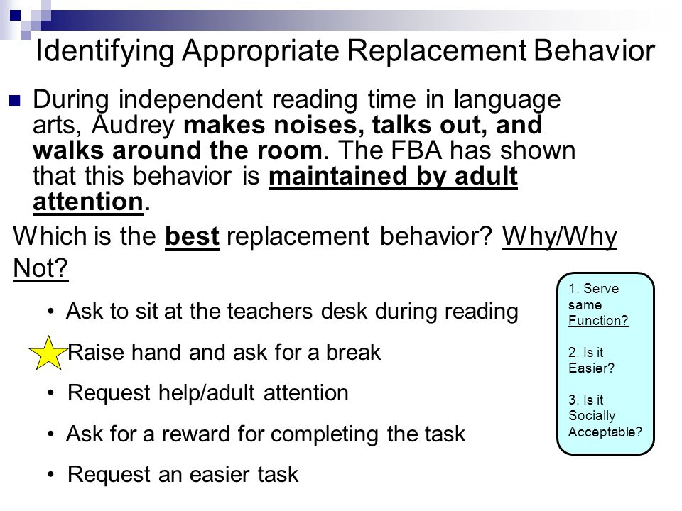 Identifying Appropriate Replacement Behavior