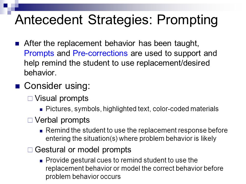 Antecedent Strategies: Prompting