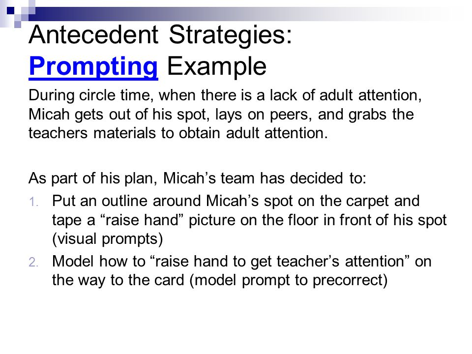 Antecedent Strategies: Prompting Example