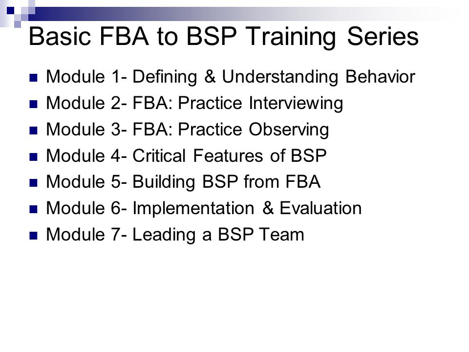 Basic FBA to BSP Training Series