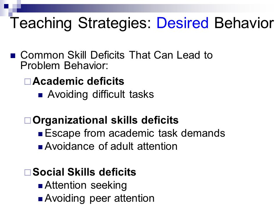 Teaching Strategies: Desired Behavior