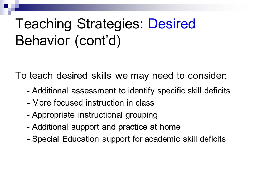 Teaching Strategies: Desired Behavior (cont'd)