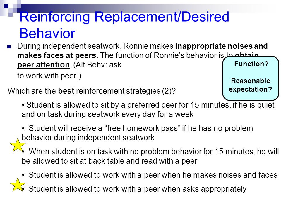 Reinforcing Replacement/Desired Behavior