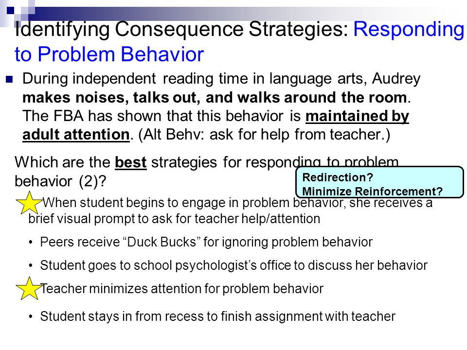 Identifying Consequence Strategies: Responding to Problem Behavior