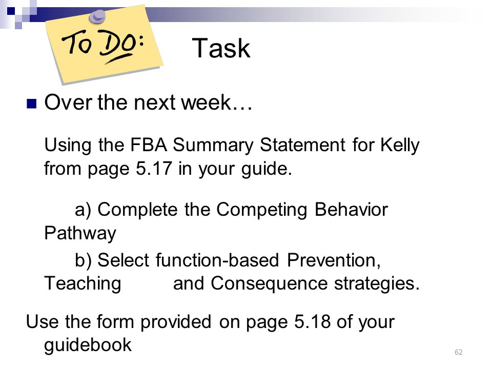 Task Over the next week…