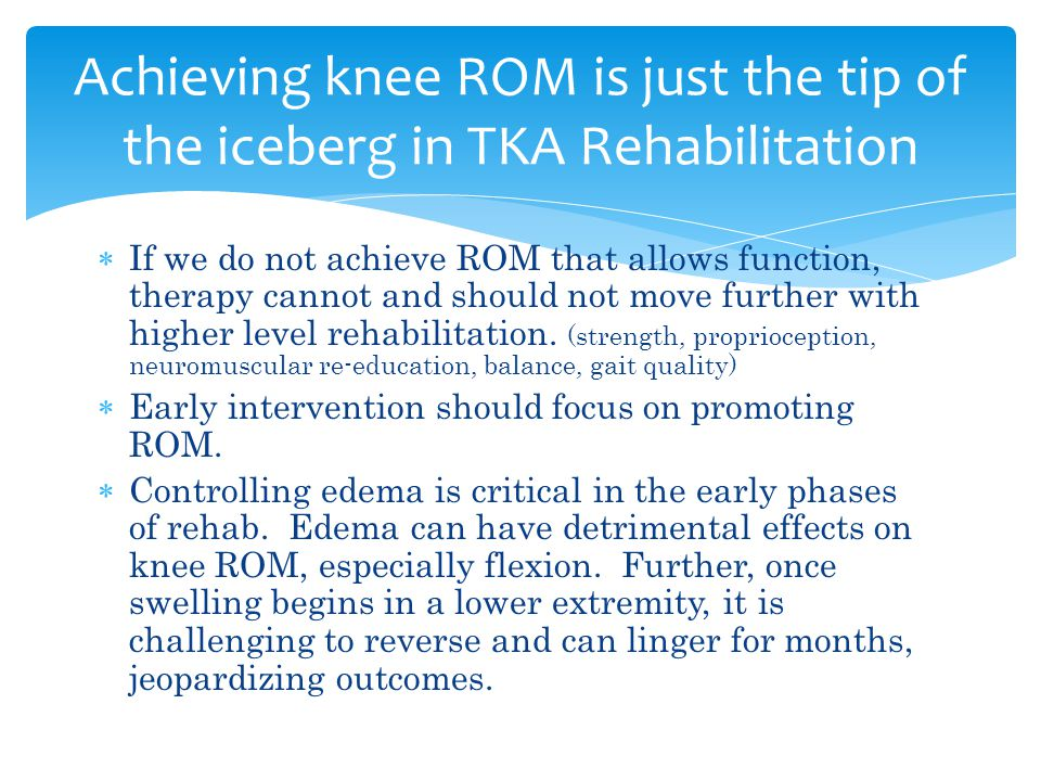 Achieving knee ROM is just the tip of the iceberg in TKA Rehabilitation