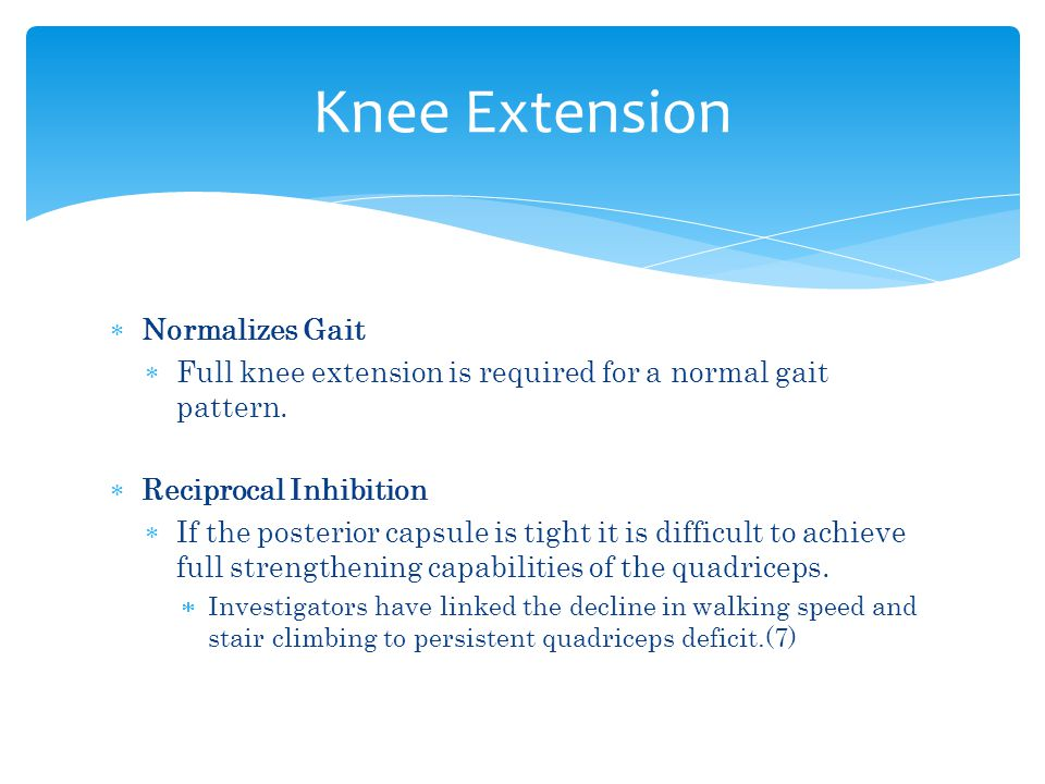 Knee Extension Normalizes Gait