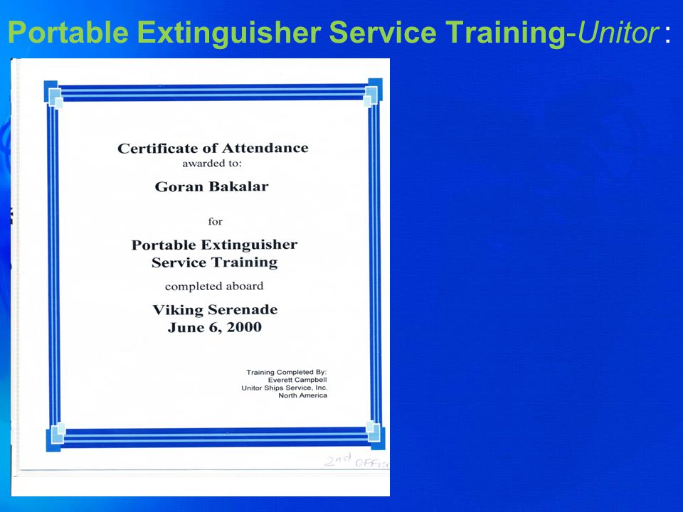 Portable Extinguisher Service Training-Unitor :