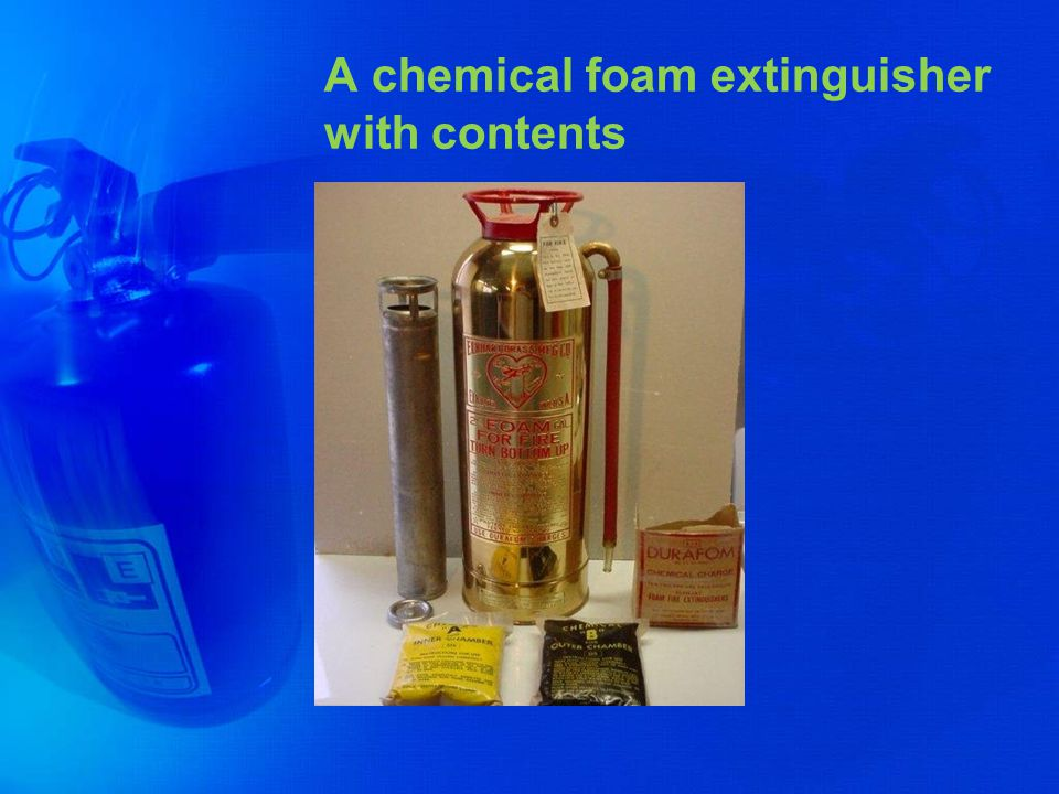 A chemical foam extinguisher with contents