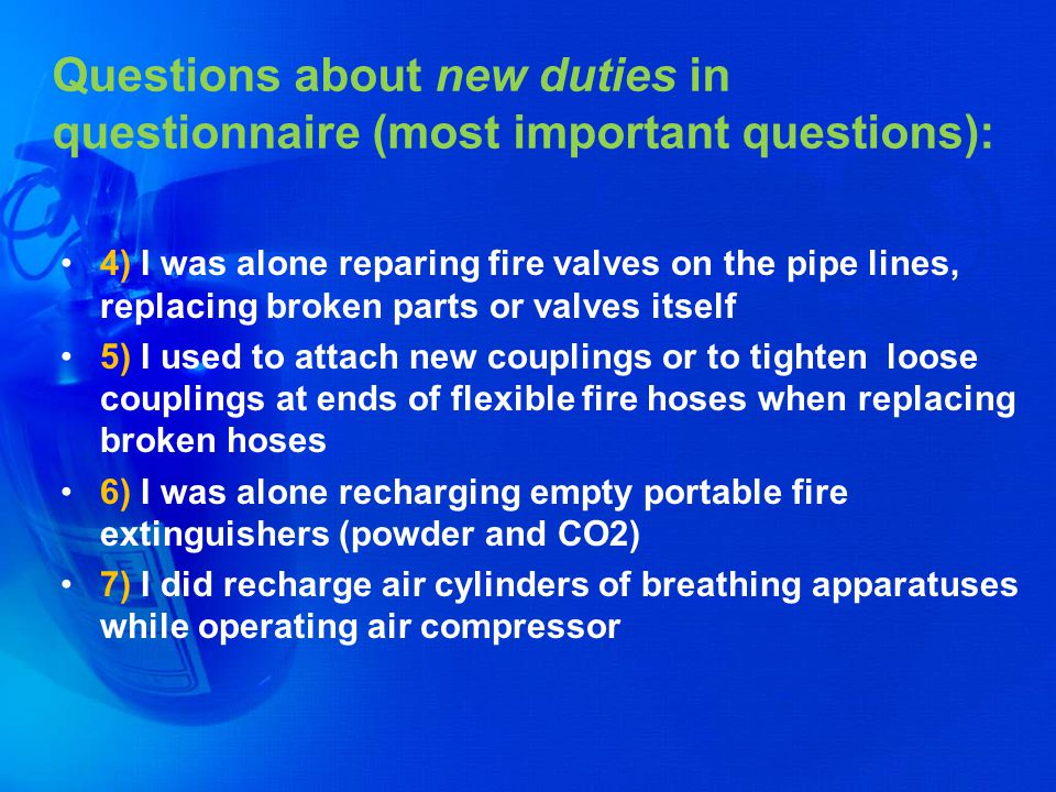 Questions about new duties in questionnaire (most important questions):