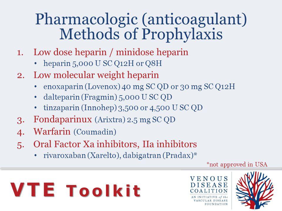 Pharmacologic (anticoagulant) Methods of Prophylaxis
