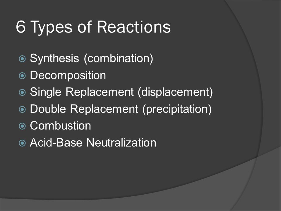 6 Types of Reactions Synthesis (combination) Decomposition