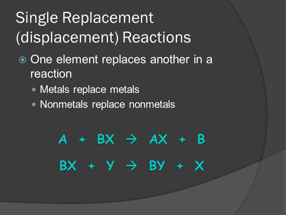 Single Replacement (displacement) Reactions